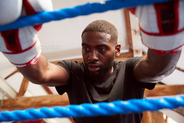 Male Boxer In Gym Wearing Boxing Gloves Leaning On Ropes Of Boxing Ring - Stock Photo - Images