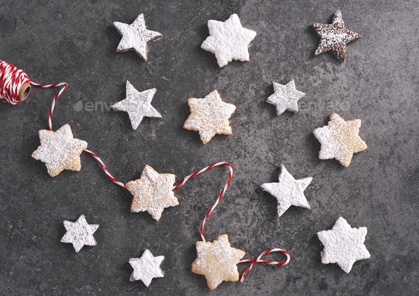 Star shaped gingerbread cookies on the table - Stock Photo - Images