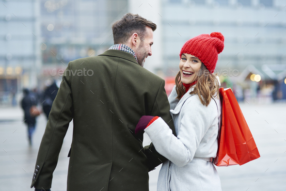 Satisfied after big christmas shopping - Stock Photo - Images