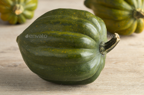 Fresh green acorn squash close up - Stock Photo - Images