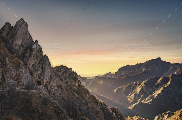 Alpi Apuane mountains and marble quarry view. Carrara, Tuscany, Italy. - Stock Photo - Images