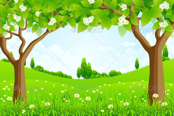 Green Background with Trees - Landscapes Nature