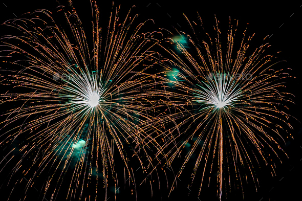 Beautiful colorful firework display at night for celebrate - Stock Photo - Images