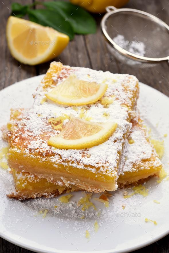 Pieces of lemon pie - Stock Photo - Images