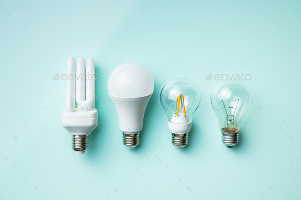 Energy saving and classic light bulbs. - Stock Photo - Images