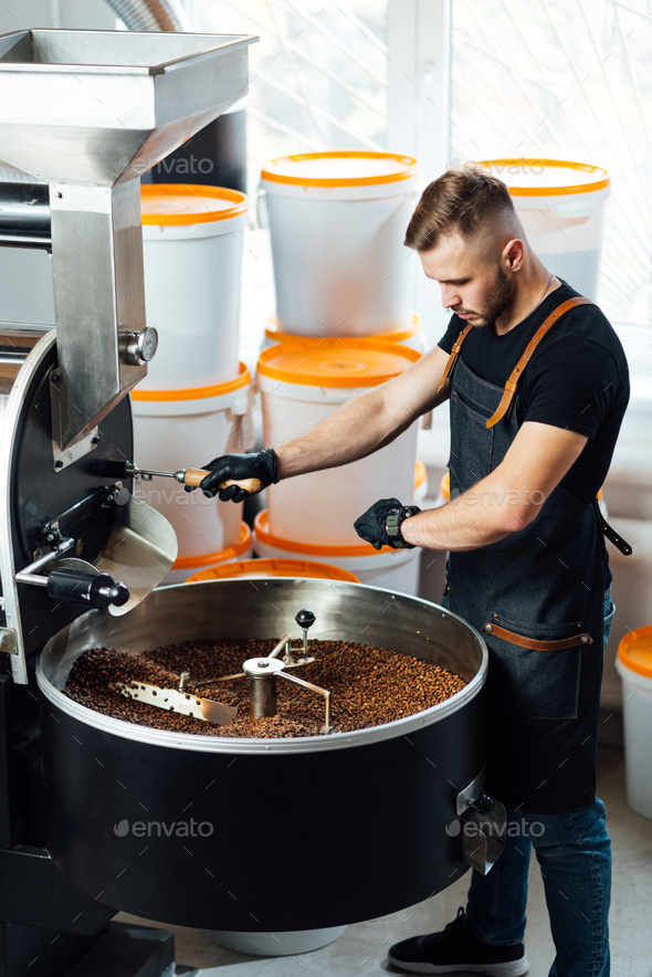A worker near coffee roasting equipment will check time for testing the sample. - Stock Photo - Images