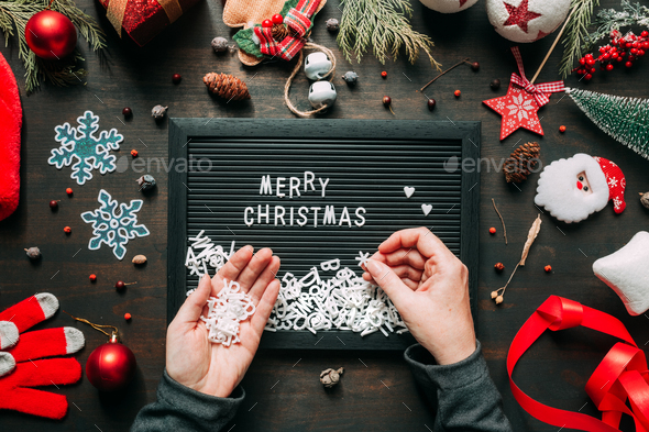 Merry Christmas message top view flat lay - Stock Photo - Images