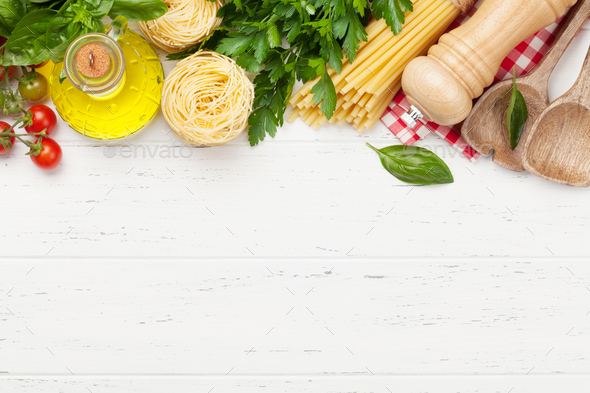 Pasta, tomatoes and herbs - Stock Photo - Images