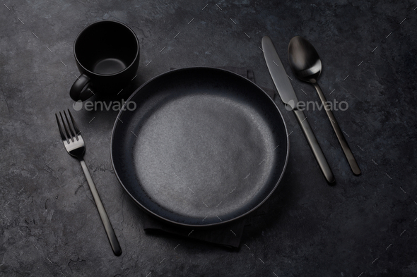 Empty plate, fork, cup, spoon and knife - Stock Photo - Images