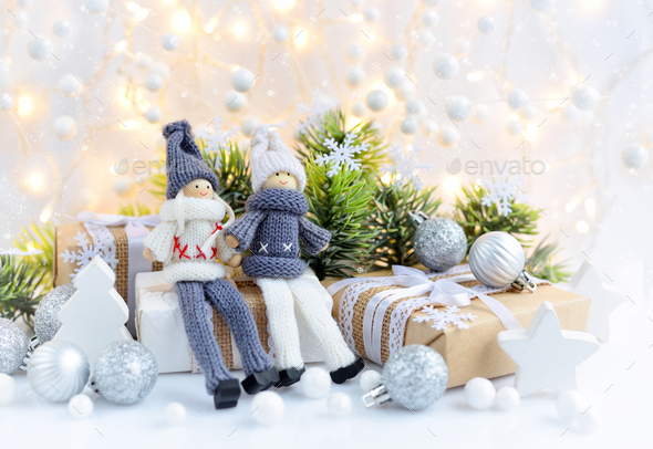 Christmas composition with toys dolls and spruce branches - Stock Photo - Images