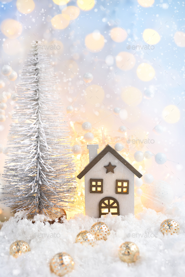 Christmas composition with the decorative hut and festive decorations - Stock Photo - Images