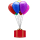 Gift Box Floating With Colorful Balloons - VideoHive Item for Sale