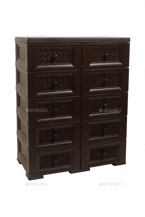 Plastic brown chest of drawers on a white isolated background - Stock Photo - Images