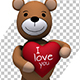 Teddy Bear Holding a Big Red Heart - Valentine's Day Concept (2-pack) - VideoHive Item for Sale