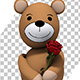 Shy Teddy Bear Holding a Single Red Rose - Valentine's Day Concept - VideoHive Item for Sale