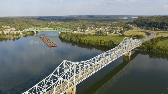 Aerial Perspective Barge Transportation Over Gallipolis Waterfront along the Ohio River - Stock Photo - Images