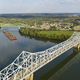 Aerial Perspective Barge Transportation Over Gallipolis Waterfront along the Ohio River - PhotoDune Item for Sale