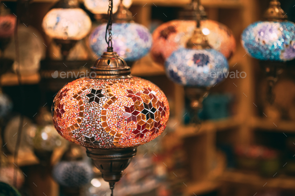 Turkey. Market With Many Traditional Colorful Handmade Turkish Lamps And Lanterns. Lanterns Hanging - Stock Photo - Images