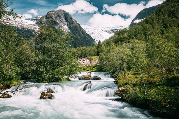 Jostedalsbreen National Park, Sogn Og Fjordane County, Norway. River Near Boyabreen Glacier - Stock Photo - Images