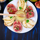 Bruschetta and Crostini with pear, ricotta cheese, honey, figs. - PhotoDune Item for Sale