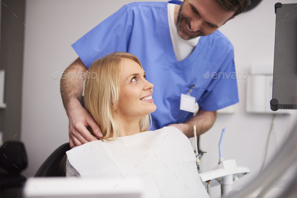 Young woman during dental appointment - Stock Photo - Images