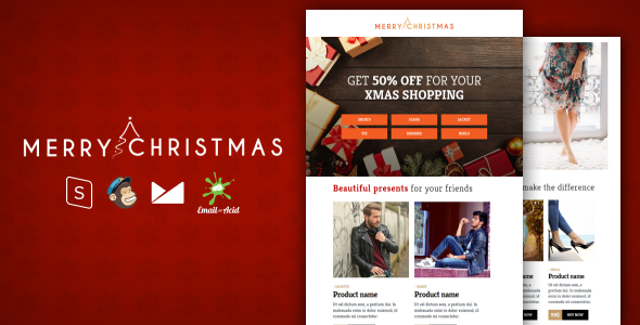 XMAS - E-commerce Responsive Email Template with MailChimp Editor, StampReady & Online Builder by Psd2Newsletters
