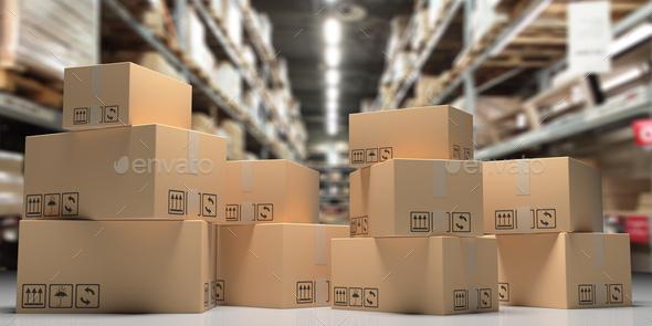 Cardboard boxes on blur storage warehouse shelves background. 3d illustration - Stock Photo - Images