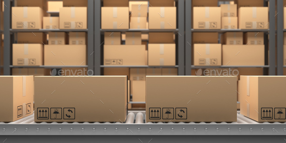 Conveyor belt. Handling and distribution concept. 3d illustration - Stock Photo - Images