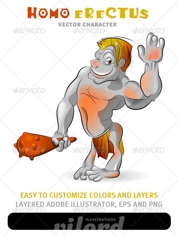 Homo Erectus Mascot - People Characters