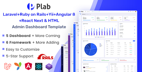 Plab | Multi-Framework Admin Dashboard Template by EnvyTheme