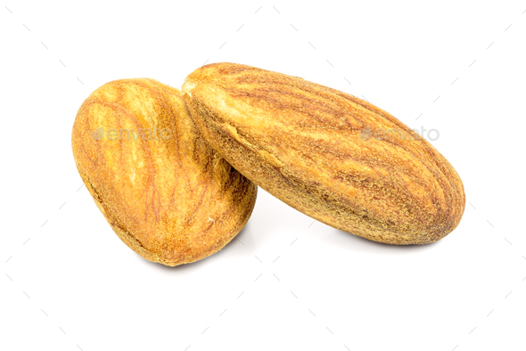 Almond nuts on white background - Stock Photo - Images