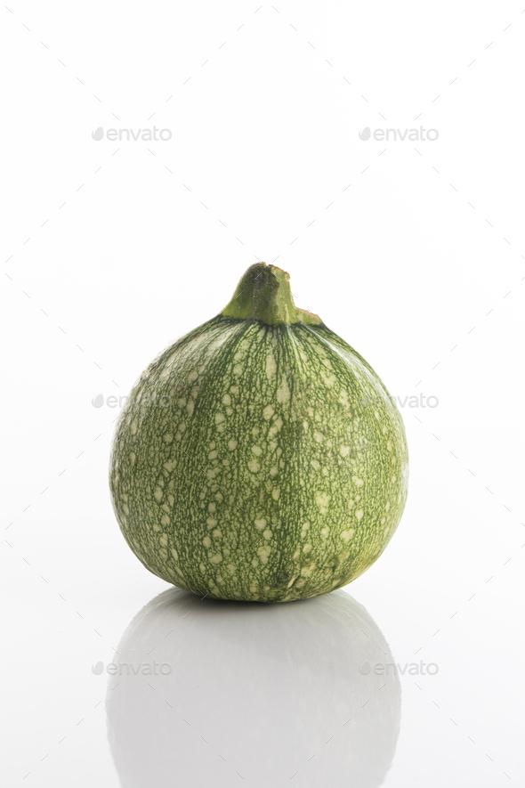 Fresh Round zucchini on a white background - Stock Photo - Images