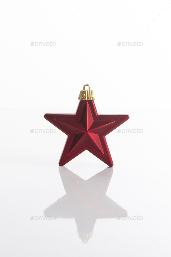 Red Christmas star ornament - Stock Photo - Images