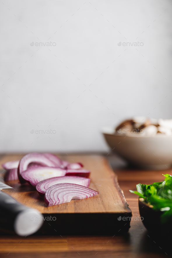 Close-up of wooden cutting board - Stock Photo - Images