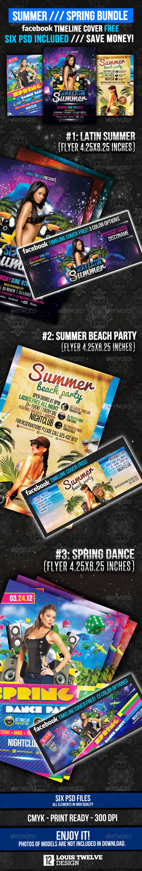 Summer and Spring Bundle Flyer + Fb Timeline - Clubs & Parties Events