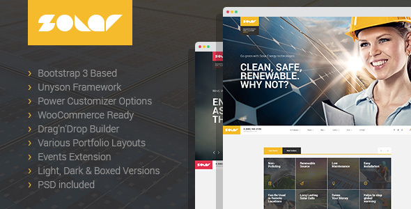 Solar - Renewable Energy and Eco Friendly Technologies Single and Multipage WordPress theme