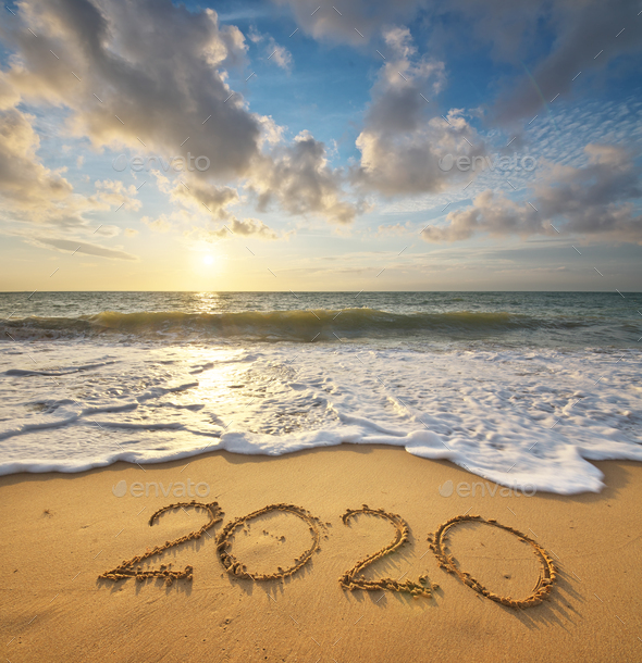 2020 year on the sea shore. - Stock Photo - Images