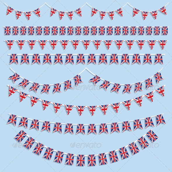 Union Jack flags and bunting - Objects Vectors