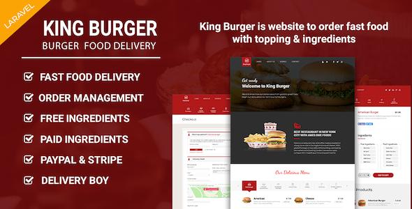 King Burger - Restaurant Food Ordering website with Ingredients In Laravel