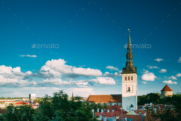 Tallinn, Estonia, Europe. Old Town Cityscape In Sunny Summer Evening. Popular Place With Famous - Stock Photo - Images