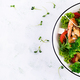 Delicious fresh salad with shrimps / prawns, broccoli, feta cheese, tomatoes - PhotoDune Item for Sale