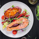 Healthy food: baked salmon and sweet potato and vegetables - PhotoDune Item for Sale
