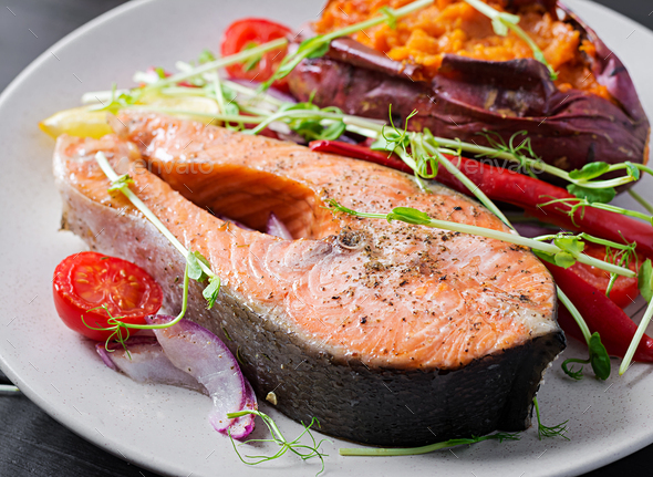 Healthy food: baked salmon and sweet potato and vegetables. Diet menu. - Stock Photo - Images