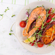 Healthy food: baked salmon and sweet potato and vegetables. Top view , overhead - PhotoDune Item for Sale