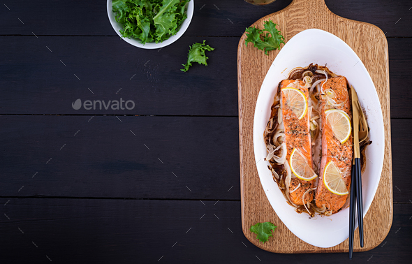 Baked salmon fillet with fresh vegetables salad. Healthy food. Ketogenic/paleo diet - Stock Photo - Images