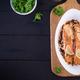 Baked salmon fillet with fresh vegetables salad. Healthy food. Ketogenic/paleo diet - PhotoDune Item for Sale