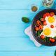 Breakfast. Ketogenic diet food. Fried egg, spinach, and tomatoes. - PhotoDune Item for Sale