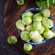 Fresh organic brussels sprouts in a bowl on a dark background. Healthy food. - PhotoDune Item for Sale