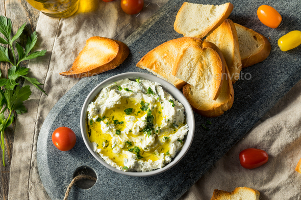 Homemade Herby Goat Cheese Dip - Stock Photo - Images