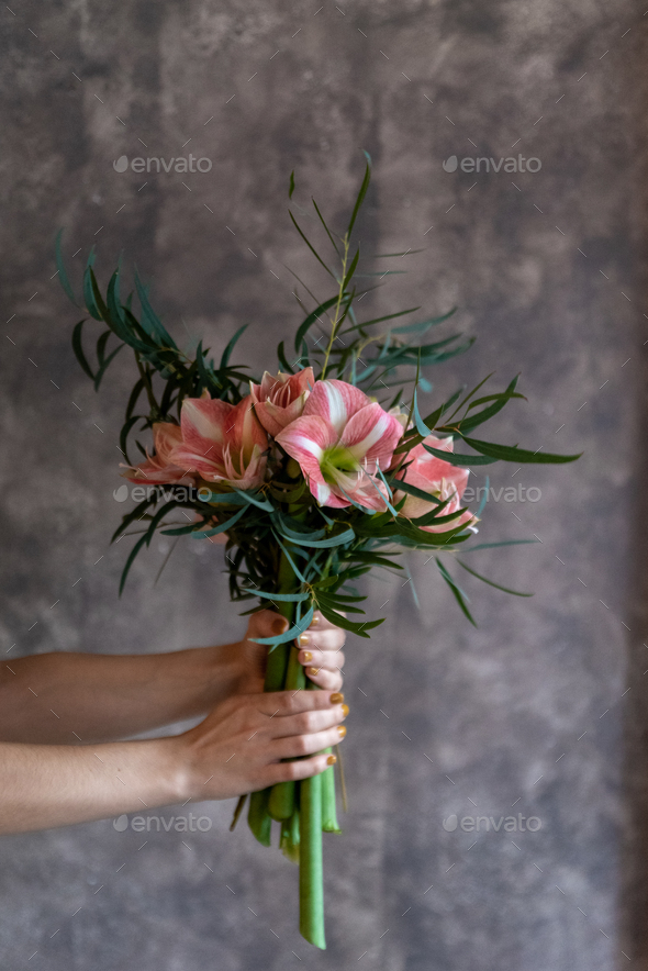 Woman's hands holding a bouquet of flowers, amaryllis - Stock Photo - Images